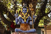 picture of shiva  - Close-up of Statue of Lord Shiva sitting in meditation under a big peepal tree ** Note: Shallow depth of field - JPG