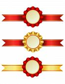 stock photo of rosettes  - A set of award ribbons with rosettes - JPG