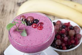 picture of smoothies  - Berry smoothie with yogurt. Smoothies of black currant red currant and gooseberry with yogurt. - JPG