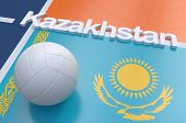 foto of volleyball  - Flag of Kazakhstan with championship volleyball ball on volleyball court - JPG