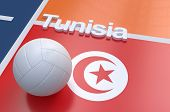 stock photo of volleyball  - Flag of Tunisia with championship volleyball ball on volleyball court - JPG