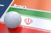 pic of volleyball  - Flag of Iran with championship volleyball ball on volleyball court - JPG