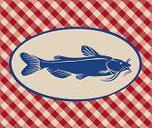 foto of catfish  - Vintage illustration of catfish over Italian tablecloth background - JPG