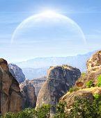 stock photo of fantastic  - Fantastic landscape with planet - JPG