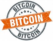 picture of bitcoin  - bitcoin round orange grungy vintage isolated stamp - JPG