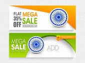 stock photo of indian independence day  - Shiny national flag colors website header or banner set with flat discount offer for Indian Independence Day celebration - JPG