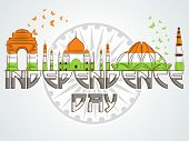 stock photo of indian independence day  - Illustration of famous Indian monuments in national tricolor on Ashoka Wheel background for Independence Day celebration - JPG