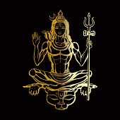 picture of hindu  - Lord Shiva Hindu god Pose meditation - JPG