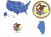 Vector illustration of state Illinois, contains: High detailed map of USA High detailed flag of Illi poster