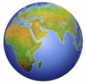 stock photo of planet earth  - planet earth showing europe asia and africa - JPG