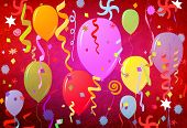 Party Atmosphere, Balloons, Confetti And Stars