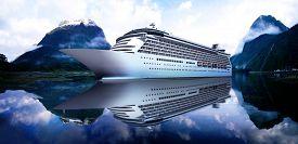 image of passenger ship  - Yacht Cruise Ship Sea Ocean Tropical Scenic Concept - JPG