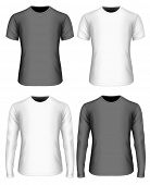 Mens t-shirt (front view). White and black variants of t shirt. Long-sleeved and short-sleeved vari poster
