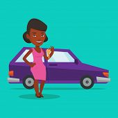 Young african-american woman holding keys to her new car. Happy woman showing key to her new car. Sm poster