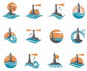 lighthouse icon set with ocean waves and seagulls. Vector illustration poster