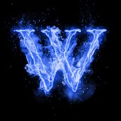 Fire letter W of burning blue flame. Flaming burn font or bonfire alphabet text with sizzling smoke  poster