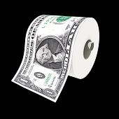 fine 3d illustration of toilet paper make with dollar