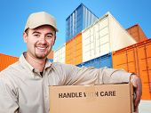 delivery man and industrial container 3d fine background