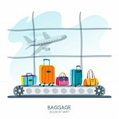 Multicolor Luggage, Suitcase, Bags On Train In Airport Terminal. Vector Hand Drawn Illustration. poster