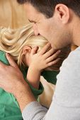 stock photo of child abuse  - Portrait Of Frightened Daughter Looking At Father - JPG