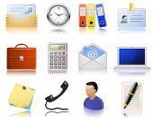 Office supplies. Vector  icon set. Highly detailed icons with a reflection.