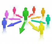 stock photo of cartoon people  - People and colored arrows - JPG