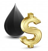 Oil price. Vector illustration of crude oil and dollar sign