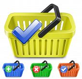 Online Internet Store Shopping Carts. Set of colorful shopping basket with signs.