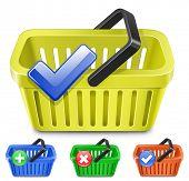 Tienda online de Internet carritos de compras. Conjunto de colorida canasta con signos.