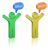 Questions: who and why? Social Media. Communication Concept.