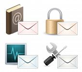 Mail Marketing Icon Set. Mail Envelopes with Reflection.