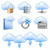 Vector Icons for Cloud Hosting