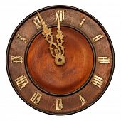 Clock face of wood and ivory