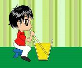 Cute Cartoon Boy Drinking poster