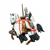 Medieval knight - crusader with a sword on a battle horse. Unauthorized homemade work (plaster figur