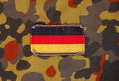 Flag patch on german soldier uniform.