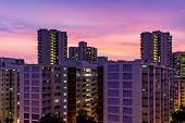 Apartment Dusk, Living Flat Sunset, Twilight Skyscraper Time Aerial View poster