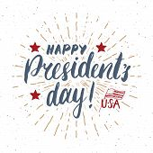 Happy Presidents Day Vintage Usa Greeting Card, United States Of America Celebration. Hand Letterin poster