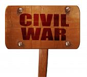 civil war, 3D rendering, text on wooden sign poster