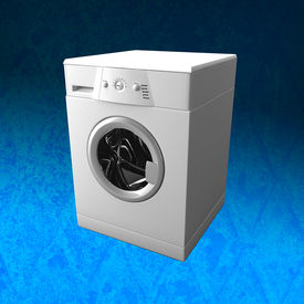 picture of washing machine  - fine 3d image of classic washing machine with GRUNGE background - JPG