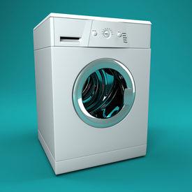 picture of washing machine  - fine image 3d of classic washing machine background - JPG