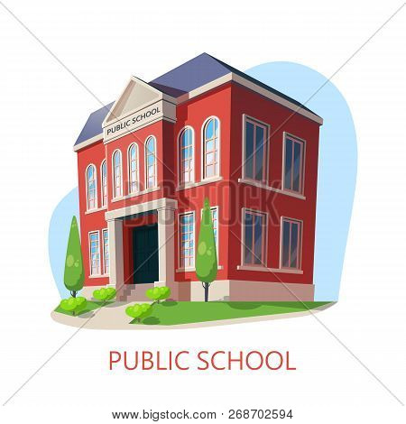 poster of Outdoor View At Public School, Exterior Panorama Of Elementary Education Building, Isometric Panoram