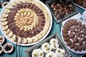 picture of bakeshop  - close up shot of Turkish dessert at the buffet - JPG