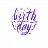 Birthday Card With Light And Dark Purple Lettering, Hearhs, Swashes And Doodle Leafs. Handwriting, I poster