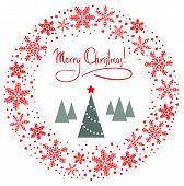 Weihnachtskranz mit Baum und roten Stern Vektor