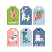 Christmas Holiday Cute Gift Tags And Labels Set With Llama, Dinosaur, Unicorn, Flamingo And Sloth Ch poster