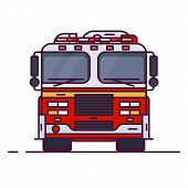 Front View Of Fire Engine Car With Lights. Line Style Vector Illustration. Vehicle And Transport Ban poster