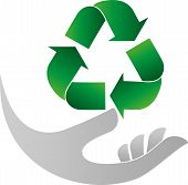 Recycling Arrows And Hand, Recycle Sign And Recycle Logo poster