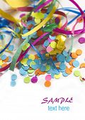 colorful confetti background with the place for your text