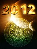 2012. Vertical background with Maya calendar